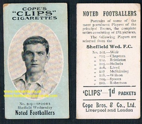 1909 Cope's Clips 2nd series Noted Footballers, 282 back, 209 Spoors Sheffield Wednesday